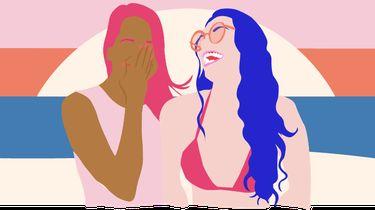 meisjes lachen illustratie