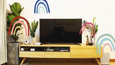 tv scherm met planten