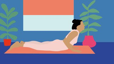 meisje doet yoga illustratie