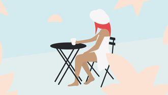 meisje aan tafel illustratie