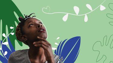 illustratie meisje met planten