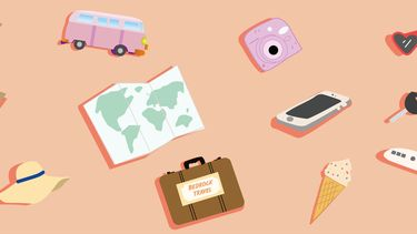 illustratie met reizen en dingen die gelukkig maken