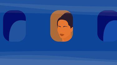 illustratie van meisje in vliegtuig