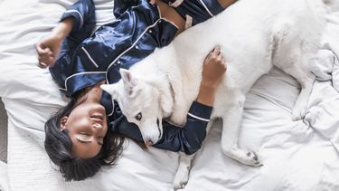 meisje in bed met hond