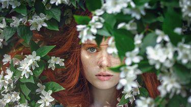 Meisje tussen planten