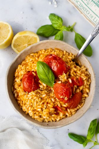 tomatenrisotto met citroen en parmezaan
