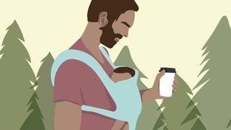 Zweedse vader met koffie