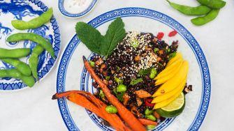 Salade zwarte rijst
