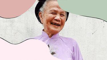 Aziatische vrouw lacht