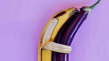 banaan en aubergine