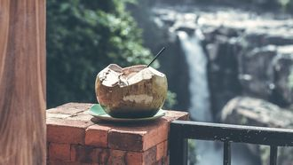 Kokosnoot met waterval op de achtergrond