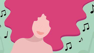 illustratie van meisje en muzieknoten