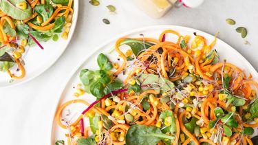 vegan noedel salade met zoete aardappel