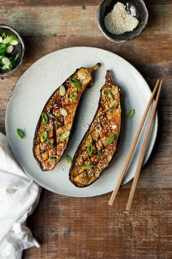 vegan recept miso aubergines