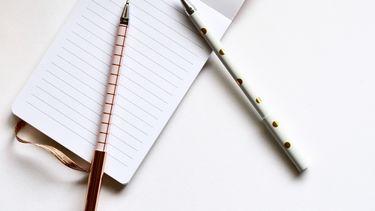 notitieboekje met twee pennen