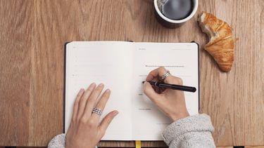 hand schrijft in een boek