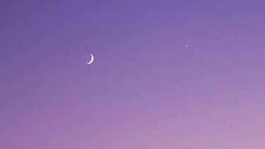 paarse lucht met halve maan