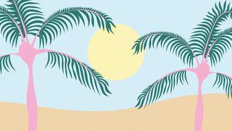 Illustratie van palmbomen en zon