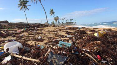 strand vol met plastic
