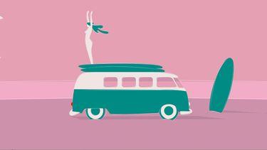 illustratie camper busje