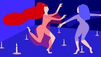 illustratie van twee vrouwen en kaarsjes