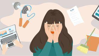 illustratie meisje met stress