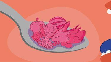 illustratie iemand die groenten eet op lepel