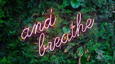 neon sign met tekst over omgaan met stress