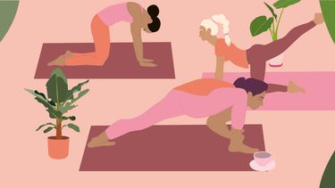 yoga beoefenaars tegen een emotionele kater