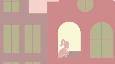 illustratie van meisje in huis