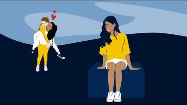 jaloers meisje en koppel in illustratie