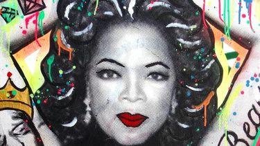 Oprah afgebeeld op een muur