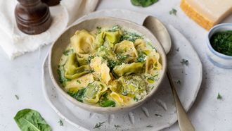 vegetarische soep met tortelloni, spinazie en dille