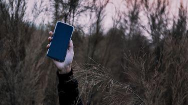 hand met telefoon uit gras omdat persoon probeert te minderen met social media