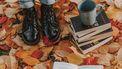 meisje met boots in herfstbladeren