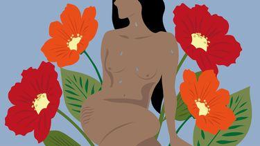 vrouw met bloemen illustratie