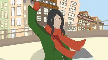 illustratie van schaatsende vrouw