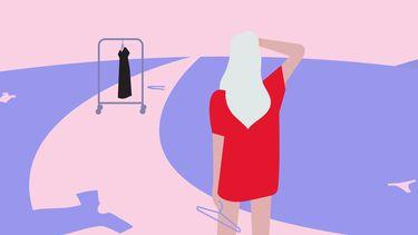 illustratie van meisje en kleding