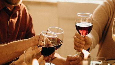 Mensen die proosten met Vegan wijn