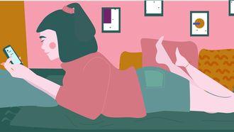 illustratie van meisje op bed