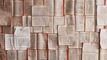 een muur van pagina's uit een boek