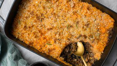 Foto van vegetarische pastei met zoete aardappel
