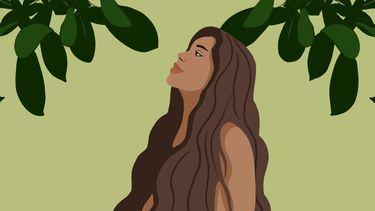 illustratie vrouw en bomen