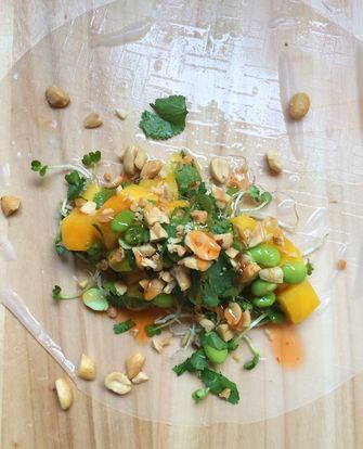 Foto van de vegan springrolls met mango en edamame
