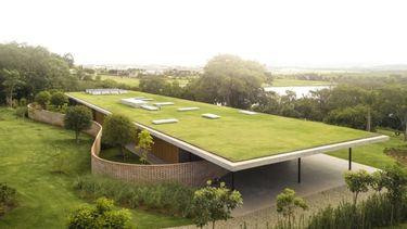 Foto van een huis met grasveld op het dak