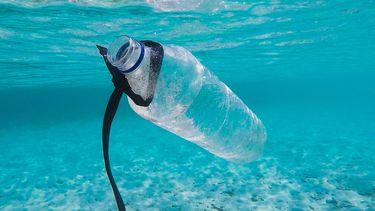 Plastic flesje in de zee