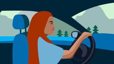 meisje rijdt auto illustratie