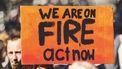 protestbord tegen klimaatverandering