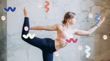 meisje doet dancerspose in yoga