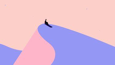 illustratie man op een berg